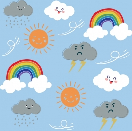 weather background cute stylized icons decor