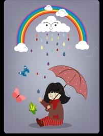 weather background girl rainbow stylized clouds umbrella icons