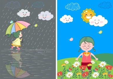 weather background rainy sunny icons colored cartoon