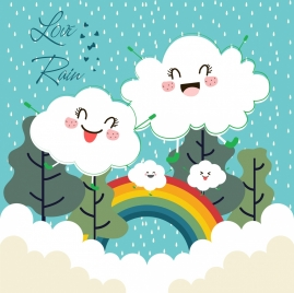 weather background stylized cloud rain rainbow icons