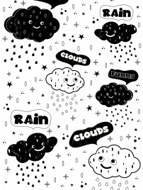 weather background stylized clouds icons black white design