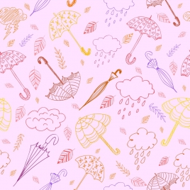 weather background umbrella cloud icons repeating handdrawn sketch