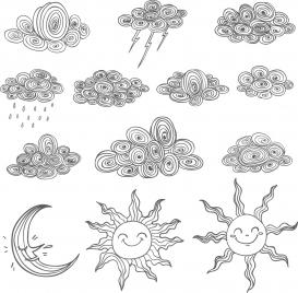 weather design elements black white handdrawn sketch