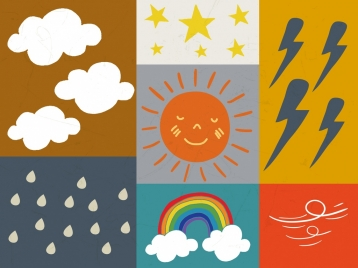 weather design elements colored handdrawn design square isolation