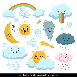 weather design elements cute stylized cartoon design
