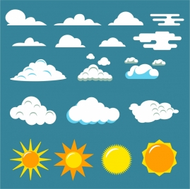 weather design elements various cloud and sun shapes