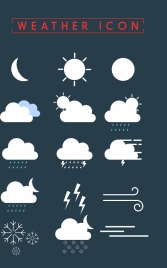 weather icons collection white flat design