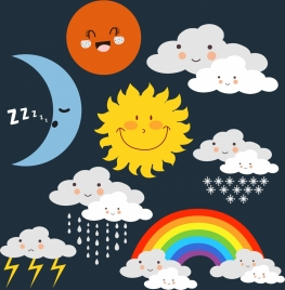 weather icons cute stylized design