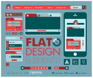 Flat web button elements vectors stock for free download about (29