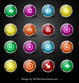 web ui icons colorful shiny modern circle shapes