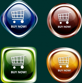 webpage buttons collection colorful shiny design various shapes
