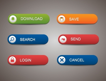 webpage buttons collection rounded horizontal shapes