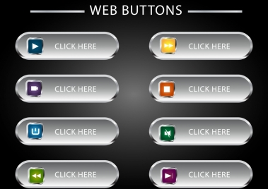 webpage buttons collection shiny rounded horizontal design