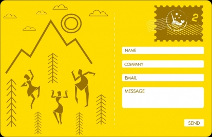 webpage postcard template tribal human icon yellow decoration