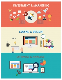website application concepts illustration in flat colored style