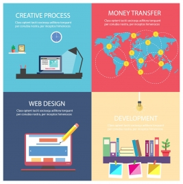 website application sets isolated with colored flat design
