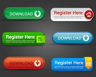 website buttons design elements with horizontal style