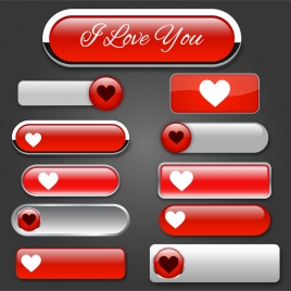 website buttons design with valentine style