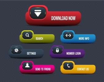website buttons illustration with modern plastic style