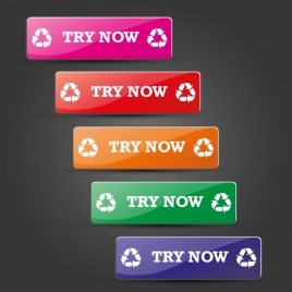 website buttons set design on colored horizontal tabs