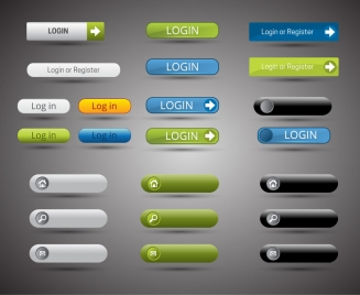 website buttons sets design with horizontal shapes