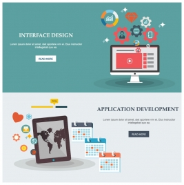 website design elements illustration with ui and devices