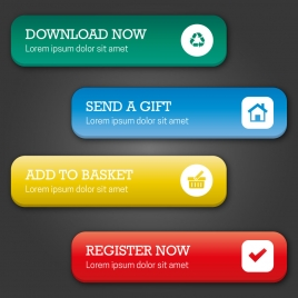 website design elements with user interface buttons