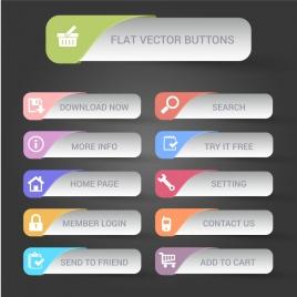 website design flat buttons sets