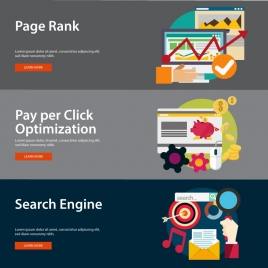 website ranking elements illustration with webpage banners style