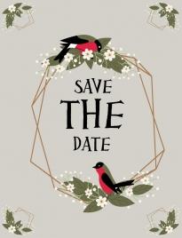 wedding background flower wreath birds icons decor