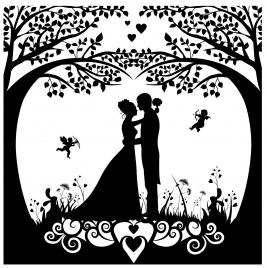 wedding background template with silhouette style design