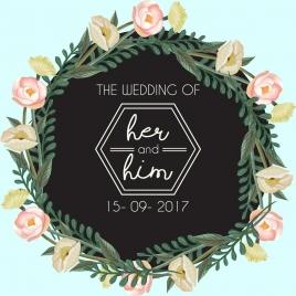 wedding banner colorful flowers wreath decoration modern design