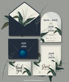 wedding card decor templates elegant botanical plants design