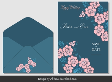 wedding card envelope template elegant beautiful botany decor