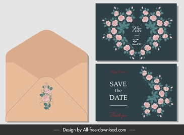wedding card envelope template elegant flora decor