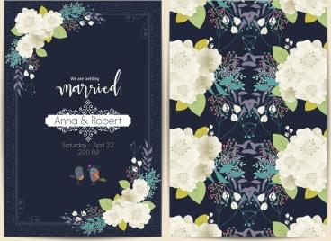 wedding card template blooming flowers decoration dark design