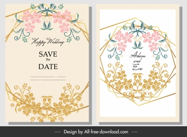 wedding card template botany frame decor colorful classic