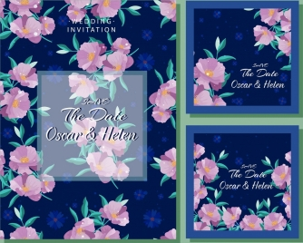wedding card template classical pink flowers decor