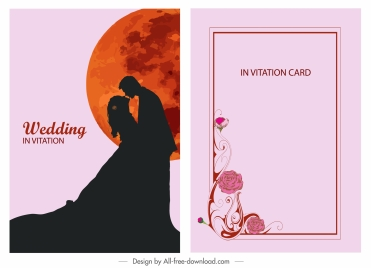wedding card template couple silhouette moon decor