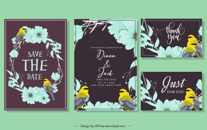 wedding card template dark classic birds wreath decor