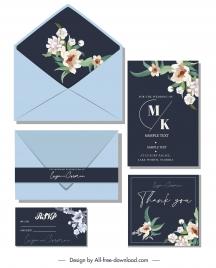wedding card template dark elegant design flora decor