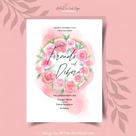 wedding card template elegant classic roses decor
