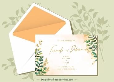 wedding card template elegant classical leaves decor