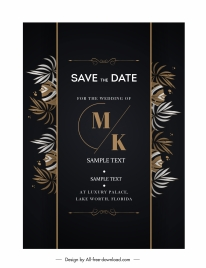 wedding card template elegant dark leaves decor