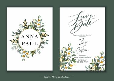 wedding card template elegant flowers decor