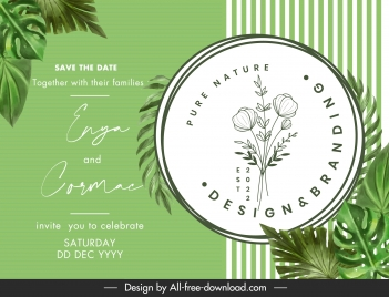 wedding card template elegant green leaves floral decor