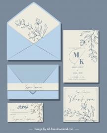 wedding card template elegant handdrawn botany classical design