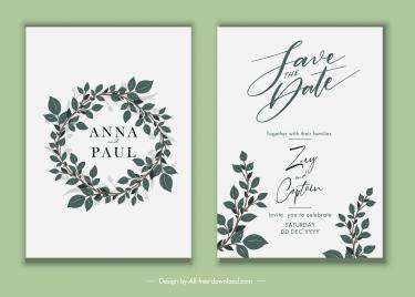 wedding card template elegant leaf wreath decor