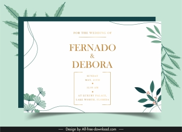 wedding card template elegant leaves decor bright classic