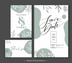 wedding card template elegant leaves decor classic handdrawn